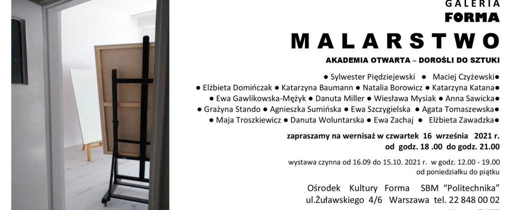 """Zaproszenie na wernisaż wystawy prac Kursantów grupy IV """"Malarstwo i rysunek"""" 2020/2021"""